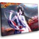 Flute Japanese Girl Beauty Autumn Music 30x20 Framed Canvas Art Print