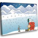 Snoopy Peanuts Charlie Brown Christmas Snowfall 30x20 Framed Canvas Art Print