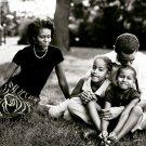 Barack Michelle Obama Family US President BW 24x18 Wall Print POSTER