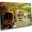 Italy Street Outdoor Cafe 50x40 Framed Canvas Art Print