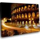 Italy Rome Coliseum Amphitheatre Night Lights 40x30 Framed Canvas Art Print