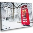 Red Phone Box England London Snow Winter 30x20 Framed Canvas Art Print