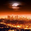 Los Angeles Skyline Full Moon Night City Lights LA 16x12 Print POSTER