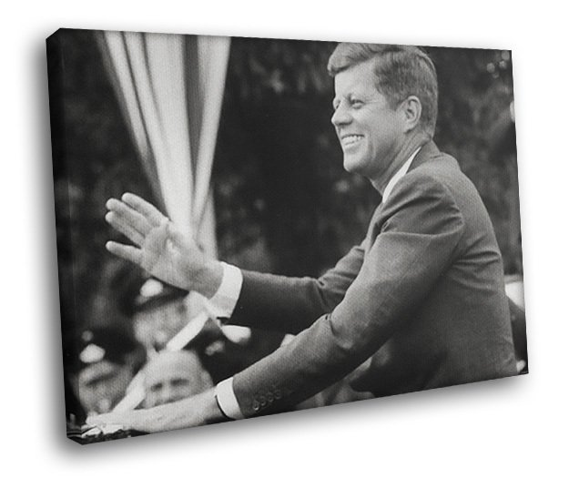American President John F Kennedy Speech 50x40 Framed Canvas Art Print