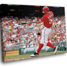 Bryce Harper Baseball Washington Nationals Sport 40x30 Framed Canvas Art Print