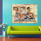 Egyptian Papyrus Painting Art 47x35 Print Poster