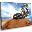 Motocross Racing Hot Bike Sand Clouds Sport 50x40 Framed Canvas Art Print