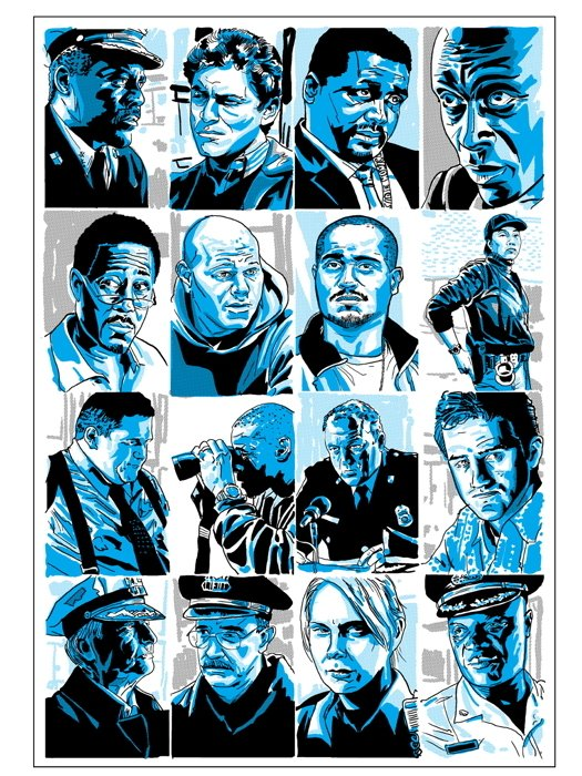 The Wire Cast Characters TV Series Art 16x12 Print Poster