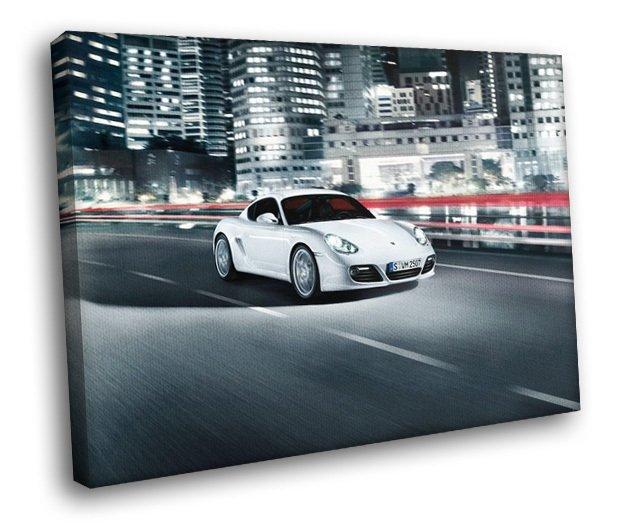 Porsche Cayman Highway Sport Car 50x40 Framed Canvas Art Print