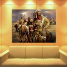Indian Native American Horse Feathers 47x35 Print Poster
