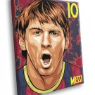 Leo Messi Lionel Painting Awesome Art Barcelona 50x40 Framed Canvas Print