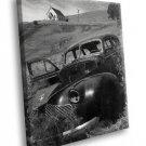 Ansel Adams Photo Black White Car Church 40x30 Framed Canvas Art Print