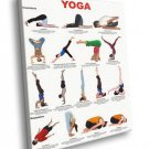 Yoga Chart Inversions Relaxation Positions Asana 50x40 Framed Canvas Art Print