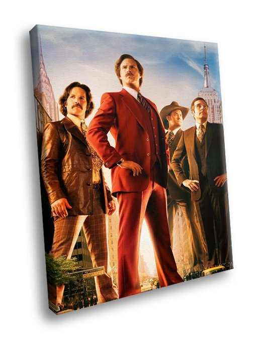 Anchorman Cast Will Ferrell Comedy Movie 30x20 Framed Canvas Art Print