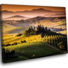 Italy Tuscany Fields Landscape 40x30 Framed Canvas Art Print