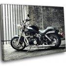 Triumph Motorbike Hot Black And White Sparkling 40x30 Framed Canvas Art Print