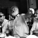 Ernest Hemingway Writer Table Drink BW 32x24 Wall Print POSTER