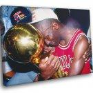 Michael Jordan 1991 Trophy Chicago Bulls Sport 50x40 Framed Canvas Print