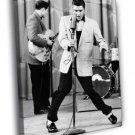 Elvis Presley Singer Microphone Retro BW 50x40 Framed Canvas Print