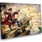 Christmas Santa Pirate Gifts Funny 50x40 Framed Canvas Art Print