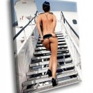 Andreja Karba Aircraft Naked Stewardess Uniform 30x20 Framed Canvas Art Print