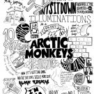 Arctic Monkeys Painting Indie Rock Band BW Art 24x18 Print Poster