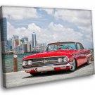 Old Car Red Chevrolet Impala 1960 Retro 30x20 Framed Canvas Art Print