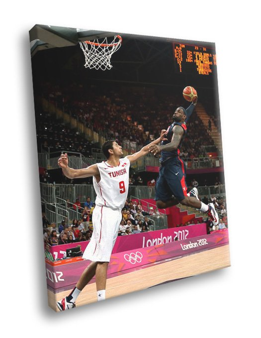 LeBron James Monster Dunk Posterize Olympics 50x40 Framed Canvas Print
