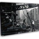 Construction Builder Worker Man Retro Old BW 40x30 Framed Canvas Print