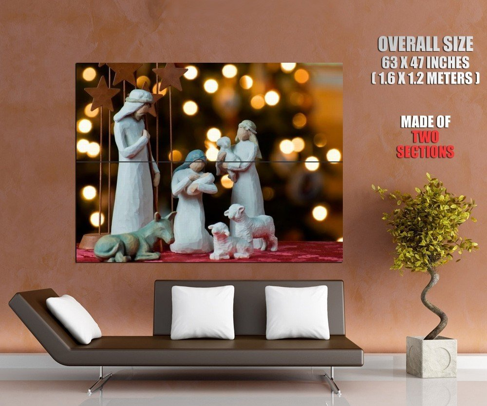Jesus Christ Christmas Lights Giant Huge Print Poster