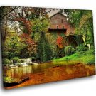 Old Forest Lake Autumn 40x30 Framed Canvas Art Print