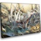 Fantasy White Dragon 40x30 Framed Canvas Art Print