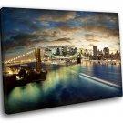 New York City Brooklyn Bridge Lights Night 30x20 Framed Canvas Art Print