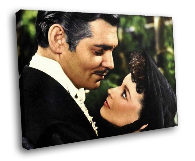 Gone With The Wind Clark Gable Vivien Leigh Movie 30x20 Framed Canvas Art Print