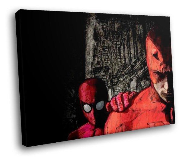 Marvel Comics Spiderman Daredevil Art 30x20 Framed Canvas Art Print