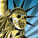 Democracy Goaltender Hockey Jason Voorhees Art 24x18 Print Poster