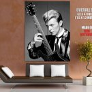 David Bowie Jacket Guitar Hairstyle Amazing BW Retro GIANT Huge Print Poster