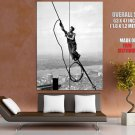 Worker Rope NYC New York City Epic Rare Old Retro BW GIANT Huge Print Poster