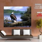 Beautiful Amazing Painting Art Bald Eagle Landscape GIANT Huge Print Poster
