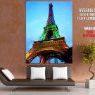 France Paris Eiffel Tower Led Giant Huge Wall Print Poster