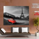 Paris Eiffel Tower Red Car Giant Huge Print Poster
