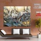 Fantasy White Dragon Giant Huge Print Poster