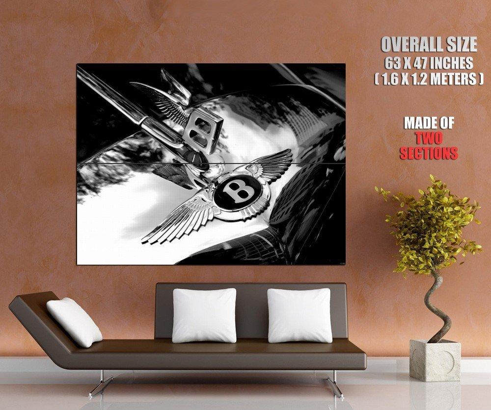 Bentley Logo Luxury Auto BW Giant Huge Print Poster