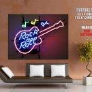 Rock N Roll Guitar Lights Night Music Giant Huge Print Poster