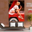 Pin Up Girl Auto Sexy Blonde Giant Huge Print Poster