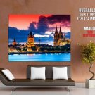 Gothic Cathedral Cologne Germany City Night River Clouds Giant Huge Print Poster