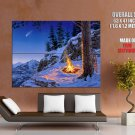Mountain Campfire Nature Landscape Comet Painting Giant Huge Print Poster