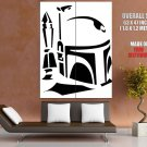 Jango Fett Stencil Artwork Black White Star Wars Giant Huge Print Poster