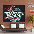 Detroit Pistons Classic Logo Retro Basketball Sport Giant Huge Print Poster
