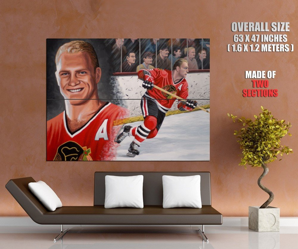 Bobby Hull Chicago Blackhawks Painting Retro Hockey Giant Huge Print Poster